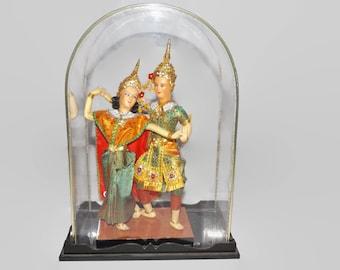 Vintage Bangkok Dolls, Handmade, Thailand, The Prince and Princess, Dancing Couple, Display Case, Asian