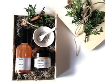 Gift for Her, Gift for Women, Girlfriend Gift, Hostess Gift, Best Friend Gift, Mom Gift, Bath and Beauty, Facial Mask + Cleansing Oil Vegan