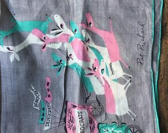 Pat Pritchard hanky, Pat Pritchard kerchief, DEMOCRAT collectible, Handkerchief, Hanky Scarf Political Donkey Silk Scarf gift for democrat