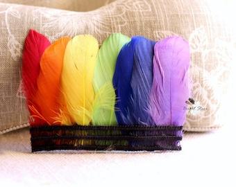 Rainbow baby - rainbow headband - photography prop - infant feather headband - infant headband - feather headband - colorful headbands
