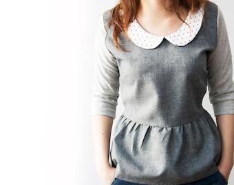 Grey tunic top with Peter Pan collar, Peter Pan collar shirt, shirt with sleeves, cute women blouse