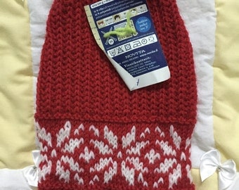 Red and white pet sweater with snowflakes