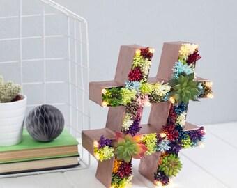 succulent letter - hashtag light - flower letters - rustic wedding