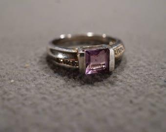 Vintage Sterling Silver Band Ring Square Bezel Set Amethyst 6 Round Diamond,Size 8