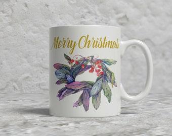 Christmas Mug, Merry Christmas, Wreath