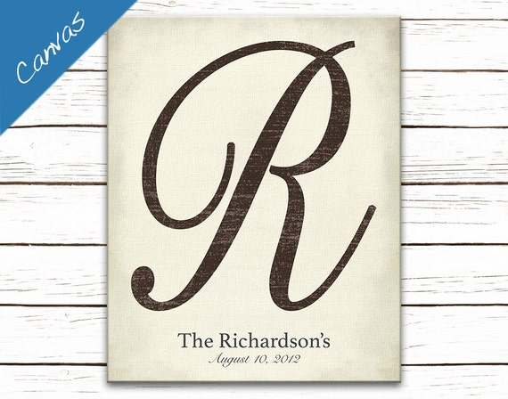 Family Monogram sign, Monogram Art, Personalized home decor, Letter Art Canvas, Letter Wall Art, Anniversary Gift, Personalized Gift, Script