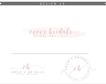 Watercolor Logo Design Branding Package Inc. Photography Logo Watermark - rose pink initials letters cute Watercolor Logo- Logo 11