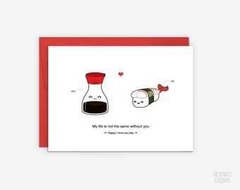 Cute Soy Sauce and Amaebi Sushi Love Card, Valentine's Day Card, Anniversary Card, I Love You Day Card