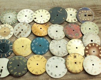 vintage watch faces ...  set of 25  watch faces USSR ...  watches dials ... circle dials ... Old Vintage watch parts ... steampunk supplies