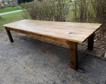 Rustic FARM TABLE 12 Foot Reclaimed Wood Farm House Primitive Country Cabin  Distressed Large Kitchen