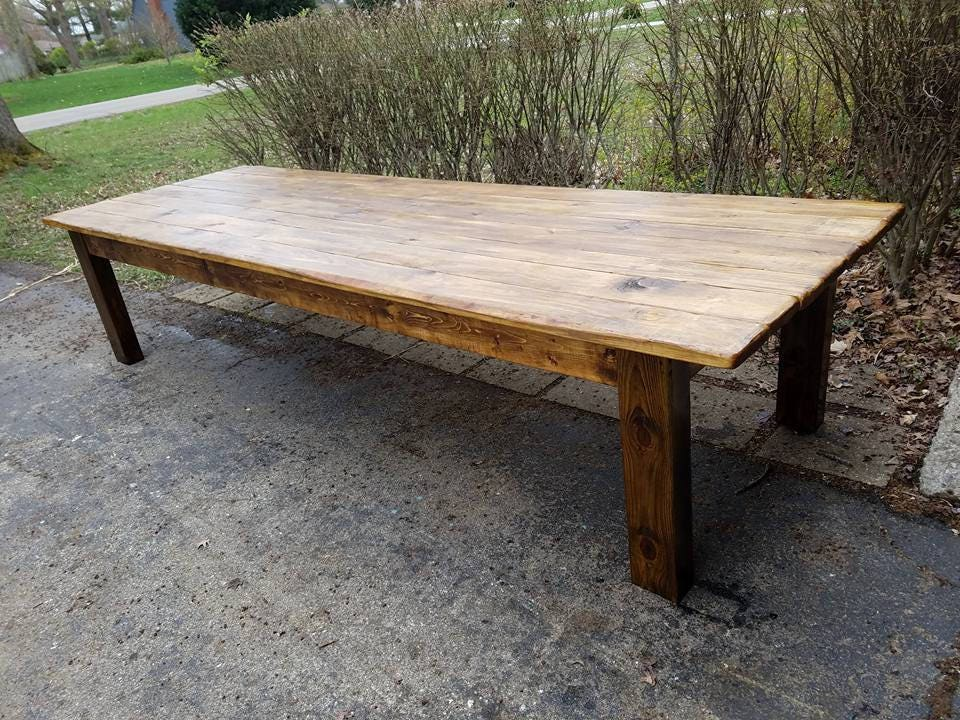 Rustic FARM TABLE 12-Foot Reclaimed Wood Farm House Primitive