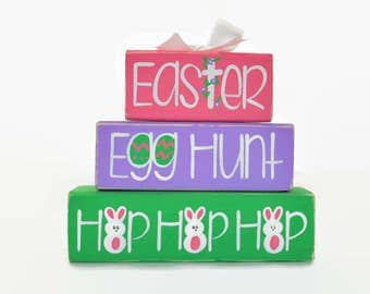 Church easter gifts etsy easter egg hunt hop hop hop woodenblock shelf sitter stack easter basket office desk decoration negle Images