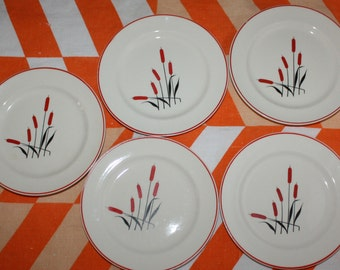 Cattail Pattern Universal Cambridge Camwood Ivory Set of 5 Bread and Butter Plates