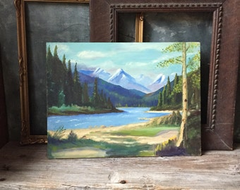 Mountain Landscape Scene Vintage Oil Painting: Canadian Landscape Painting, Original Oil Painting On Masonite, Hand Painted Art