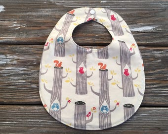 ORGANIC Bib ~ Camp//Woodland//Owl//Squirrel//Trees//Forest