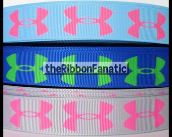 "5 yds 7/8"" Athletic Sports Grey Pink , Electric Blue Lime, and Aqua Pink Grosgrain Ribbon"