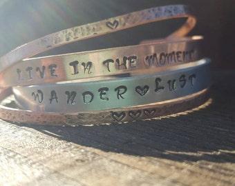 Personalized Phrase Bracelet Set, 4 Hammered Bracelets Set, Silver Brass Copper, Stacked Bracelets, Hand stamped Personalized Monogram Cuffs