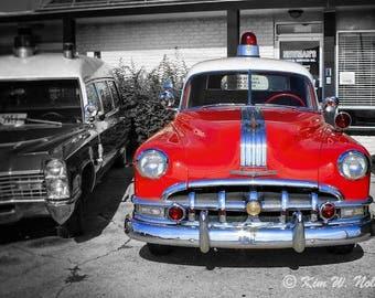 Car wall art Vintage Cars Photo Red Vintage Ambulance Red car photo Vintage Automobile wall art Old red car Vintage Car print Car lover gift