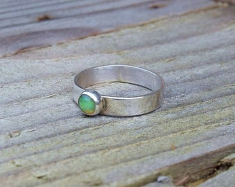 Ethiopian opal sterling silver ring, opal ring, silver opal ring, silver ring, fire opal, gift for her, October birthstone