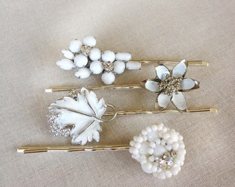 Repurposed vintage hair pins, white, silver, rhinestone, vintage wedding hair accessory, bridal, bridesmaid gift, hair, something old