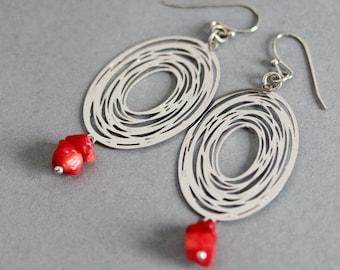 Geometric Earrings Silver Red Coral Earrings Filigree Oval Earrings Oval Earrings Filigree Earrings Silver Filigree Silver Red Earrings