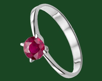 Ruby Ring, Ruby Gold Ring, White 14K Gold Ring, Real Ruby Ring, 0.2 Ct Ruby Ring, Best Buy, White Gold Ruby Ring, Size 4.5.6.7.8.9,10