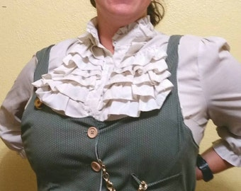 Lightly Corseted Steampunk Vest in Grey and Lined in White