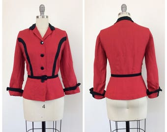 40s Red & Black Linen Jacket / 1940s Vintage Cotton Peplum Blazer / Large / Size 10