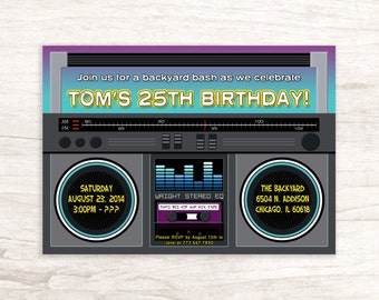 Boombox Birthday Party Invitation for Anyone