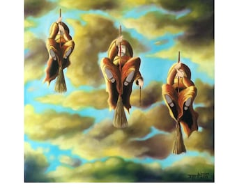 Witch Painting//Oil Painting// Paintings//Three Witches Fly//16x16//Free Shipping the U.S.A.//