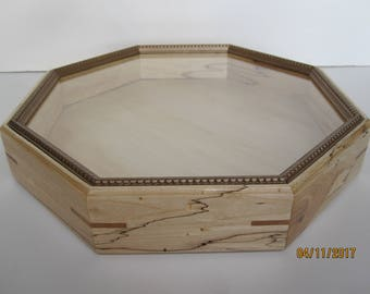 "Spalted Yellow Birch Octagonal Sailor's Valentine Box 12-13/16"" - #22"