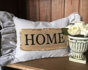 Pillow Cover, Home Pillow Cover, Farmhouse Pillow Cover, Farmhouse Style Pillow Cover, Pillow Cover with ruffle