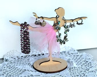 Wood Ring holder, jewelry organizer, Ballerina figure, Ballet Dancer, Ring jewelry Dish, girls bedroom decor, dance ornament