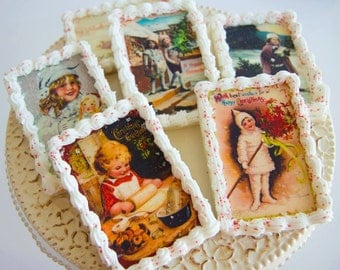 One dozen vintage edible image cookies