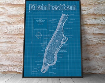 Manhattan blueprint etsy manhattan map original artwork new york blueprint wall art anniversary gift malvernweather Image collections