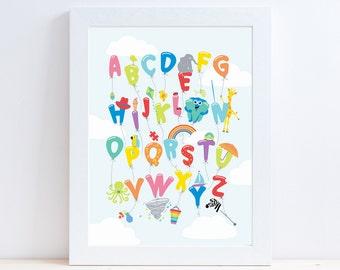 Alphabet Balloons Alphabet Print , Nursery Art, Nursery Decor