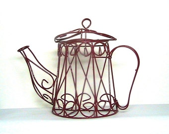 Wire Tea Kettle, Red Coffee Pot Planter, Vintage Kitchen Decor, Red Tea Pot