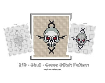 Skull Cross Stitch Pattern, Goth Pattern, PDF instant download, No.219, Instructions