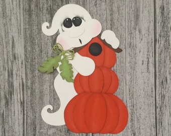 Ghost with pumpkins, Halloween, Paper Piecing, PreMade Die Cut, Birdhouse, Fall