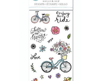 """Molly & Rex 4"""" x 8"""" Clear Stamp Set - THE RIDE Bike follow your heart bicycle Love Dream 1.cc21 CS104"""