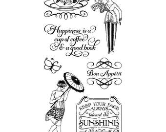 Graphic 45 CAFE PARISIAN 3 Cling Stamps IC0367S cc55