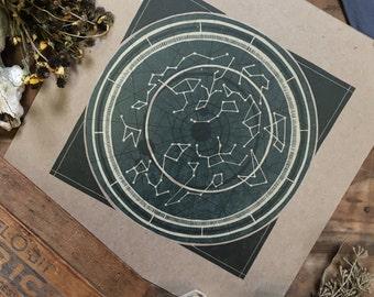 Star Map Letterpress Print | Art Print | Constellation Map Letterpress Print | Zodiac Print
