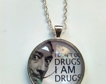 dali glass picture pendant necklace