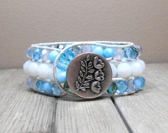 ON SALE Serenity Blue Beach: Serenity Blue Beads, White Rounds, Beaded, Boho Leather Cuff Bracelet, boho, women, jewelry, Cuff, gypsy, Beach