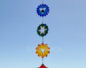 Chakras - Set of Seven Fused Glass Ornament Suncatchers
