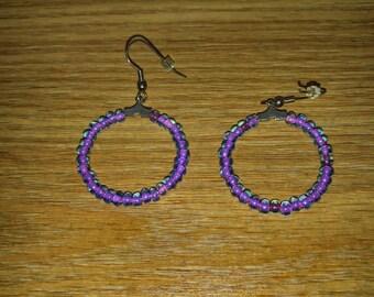 Purple Transparent Hoop Beads