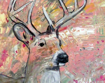Deer Painting Abstract Painting Feminine Style Whitetail Deer With Antlers Wall Art