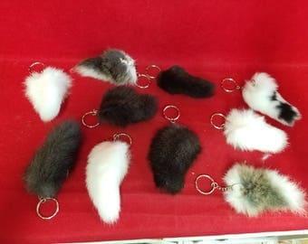 Taxidermy Rabbit/Rex/Bunny Tail Key Chain-animal-fur-tail-purse charm