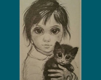 ART FRAUD. Walter Keane big eyed girl with cat.