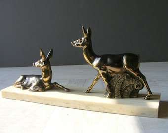 Large Antique French Art Deco DEERS Statue,marble and spelter.